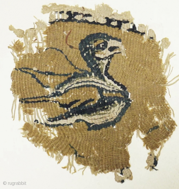 Coptic textile fragment with bird ca 6-7 C ad