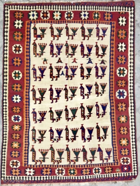 Very unusual antique qashqai kelim with birds alover and some people ca 1920 s size 233 x 166 cm