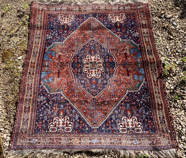Nice antique Persepolis qashqai rug ca 1910-20 All wool natural dyes excellent condition size 157 x 127 cm