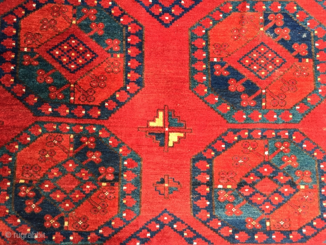 Antique Ersari carpet with exceptional colour size 305 X 205 cm 3rd qtr 19c. All wool and natural dyes generally good condition little bit of wear and few tiny old repairs worst detailed  ...