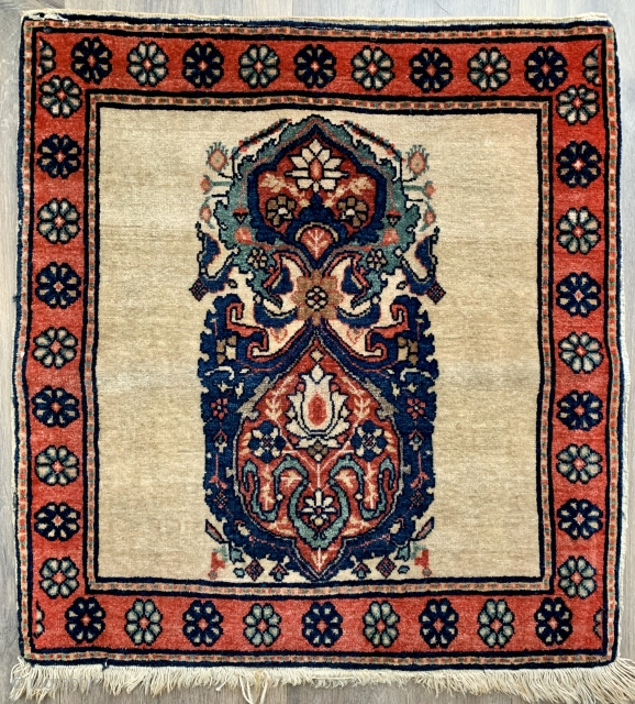 Very sweet little sarouk poshti excellent condition has been hanging (loops)