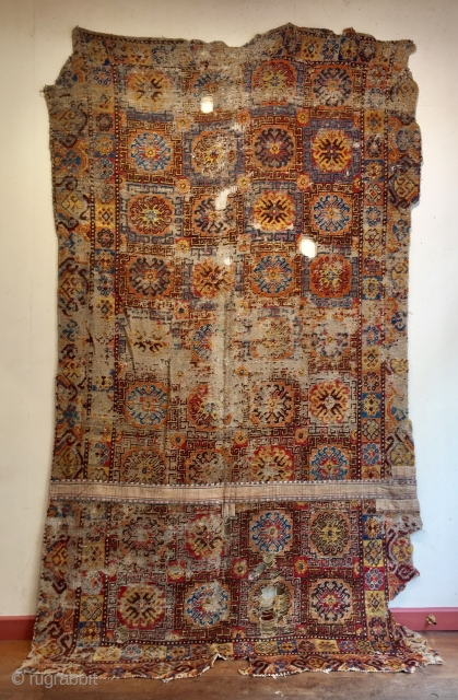 Rare antique Kashgar carpet first half 18 c recently discovered in Tibet.