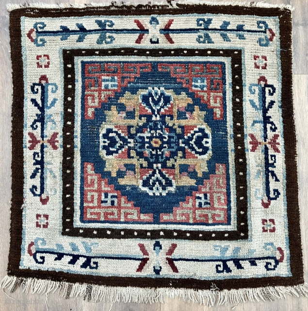Lovely antique Tibetan square older than most with natural dyes ca 1880 or before 