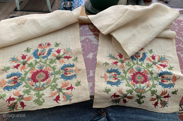 Beautiful antique Skyros sash ca 1800. Great condition few old stains to cotton plain centre.