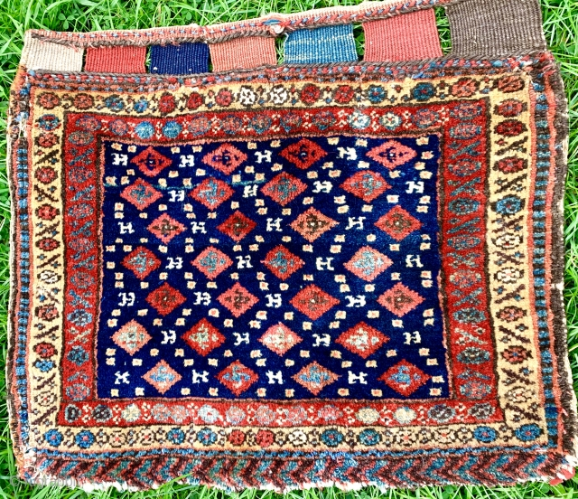 Lovely antique Kurdish bag face with pinwheels thick pike great wool and colours