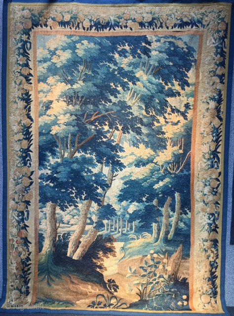 Nice 18 c Tapestry just came in size 255 x180. Great design that draws the eye into the distance.  Silk highlights, lovely blue,  missing bottom border and like most of these  ...