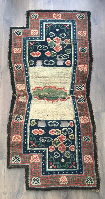 Lovely antique Tibetan saddle rug 3 rd qtr 19c very old for a Tibetan piece