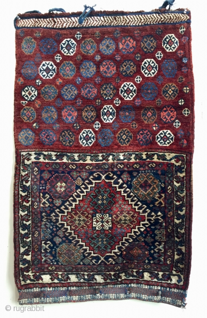 Here's a very rare antique Qashqai bagface with all pile back ca 1900