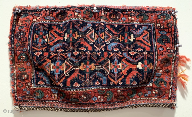 Very fine antique Afshar bag with jewel like colours ca 1880.  Back is antique and afshar but not original looks like it has been attached a long time ago in the  ...