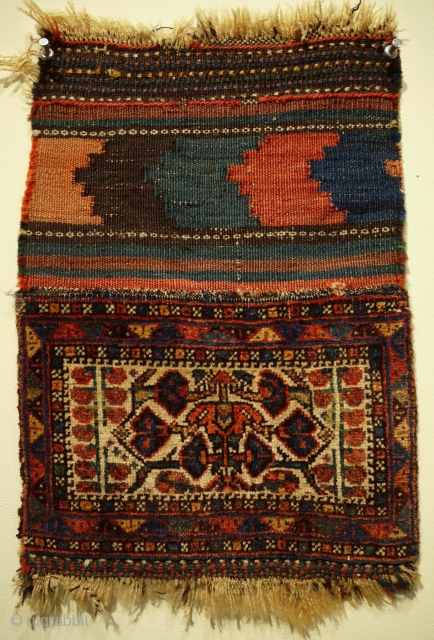fine antique Afshar chanteh ca 1900 with original back size 29 x 21 cm. Good condition all wool,  colours seem natural