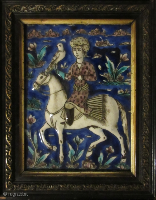 Happy hunting ! Persian Qajar tile finest quality 19 c
