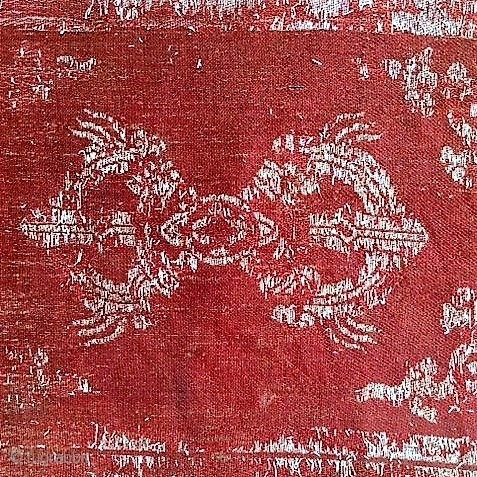 Very old Buddhist silk fragment of a altar cover from Himalaya destination The figure Dorje/Vajra one of the most famous culture items of Buddhismus.