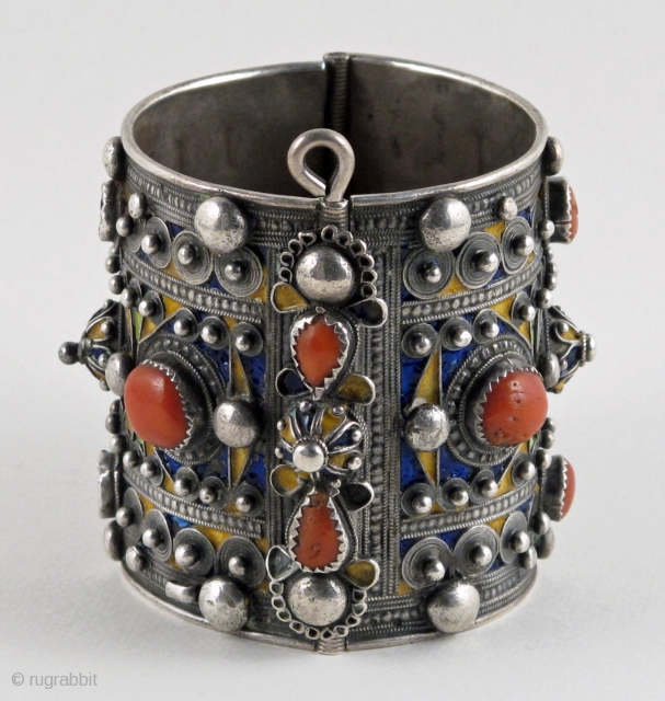 Antique Kabyle Cuff with Good Coral and Enamel Work.  Evidence of wear from the ages does not diminish the beauty of this textbook example of a lovely old cuff from the  ...