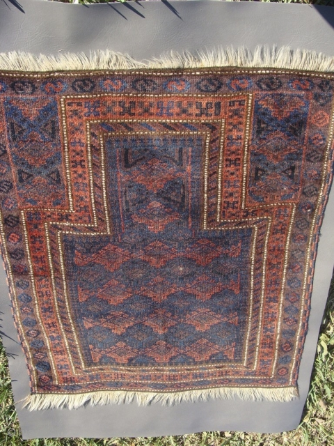 almost Square 3ft x 3ft Baluch Prayer rug. Measures close to 35inches by 40.6inches without fringe or 88.9cm by 101.6cm.