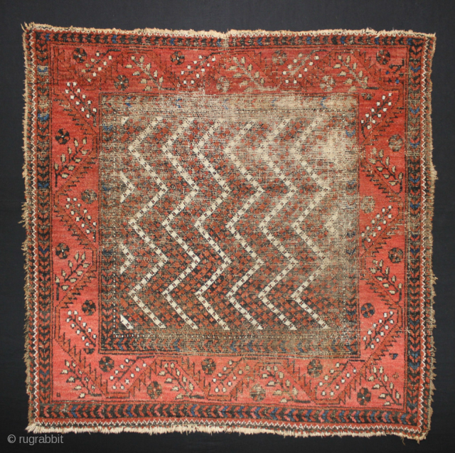 An unusual Piled Baluch Soffreh whith a bit unpiled. 41inches square 104cm