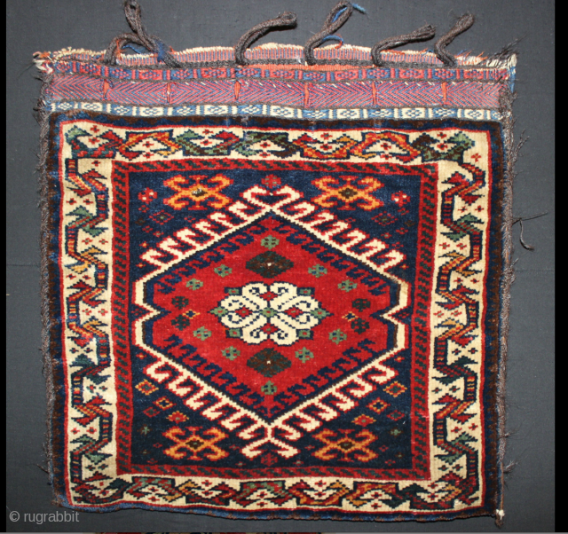 Square Qashqai Bag of great quality with rich coloration including a luminescent blue field and pistachio greens in the medallion. Very careful attention paid to symmetry of the tiny designs. 22inches by  ...