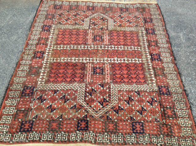 Baluch Rug. See similar looking piece that Thomas Cole had: http://www.tcoletribalrugs.com/resources/rugshtml/109Baluch.html 57 inches by 68 inches. Machine fringe sewn on to ends. Not many of these around.