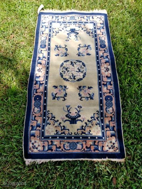 Antique Peking rug 27.6in x 54in, nice shape. I have another one that I bought with it, so I believe they were made as a pair, but it is in not as  ...