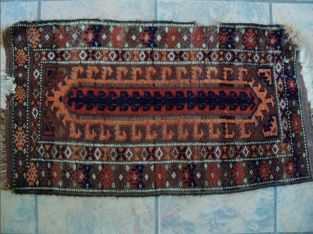 Baluch Balisht with an unusual field design mostly found on larger rugs. 