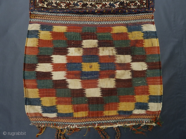 """PRICE REDUCED FOR QUICK SALE!!! A South Persian bag with beautiful kelim. Look at that fantastic aubergine. Measures close to 28"""" x 47"""". I believe the stains in the kelim should be  ..."""