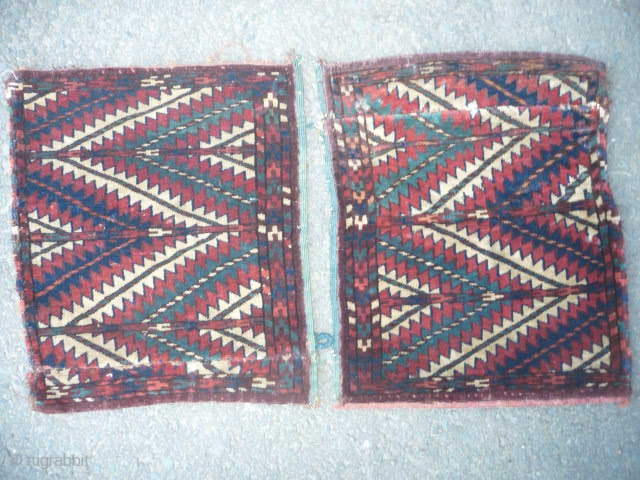 TURKMAN OK BASH 19th cent.  A pair of ok bash with beautiful colours especially good green, points cut off, both cut and re-sewn with little or nothing missing,good pile, will clean superbly, straight  ...