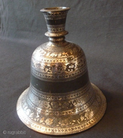 Mughal Indian 18th cent. Exquisite quality silver inlaid Bidri-ware huqua base, two small dents and some loss to the inlay, 8ins. high.
