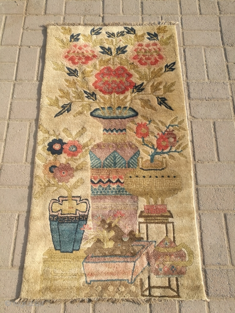 Antique Chinese hanging rug. Excellent condition. Size 4 feet by 2.2 feet.