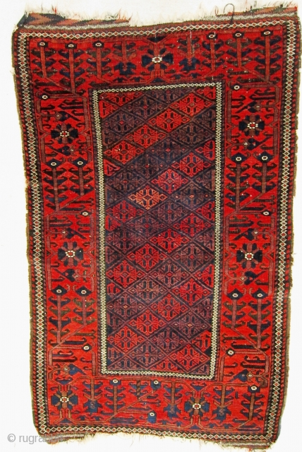 A late 19th / early 20th century Baluch   Size 142 x 84 cm  In good overall condition with full pile and sound colours. Traces remain of the brocaded kilim at both ends,  ...