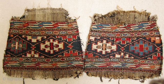 A pair of late 19th/early 20th century Shah Savan soumak panels. Great clear colours and overall good condition for age, each face is approximately 48 x 30 cm (not including fragmented plain  ...