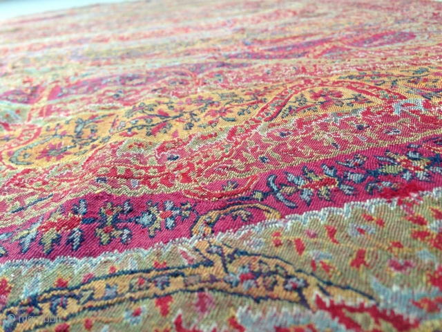 Antique 1850th century indian kashmir long shawl with amazing design.. As you can see the colours are very nice & bright but may be the pics are not to clear.allover the long shawl  ...