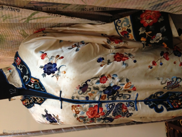 Antique 19th century Chinese embroidery robe.