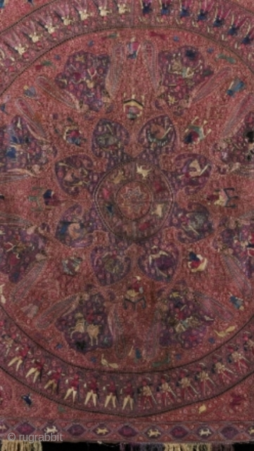 The art of indian textiles. antique indian gujrat embroidery shawl.19th century it's same like kashmir Shawl.It's Museum collection shawl with more than one thousand figures. there is many figures like kings & Queens  ...