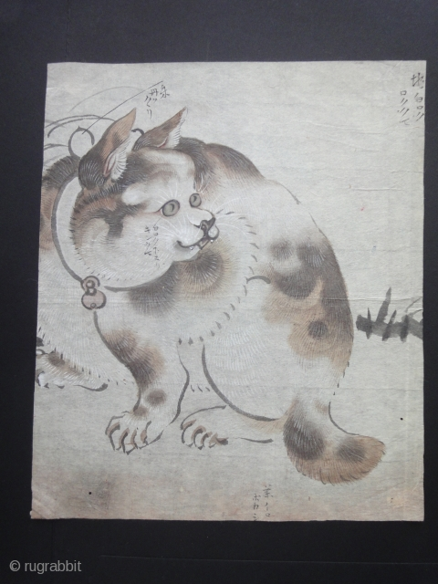 A beautiful sketch of a Japanese cat. Cm 20 x 23. On rice paper. Between 18th and 19th century.