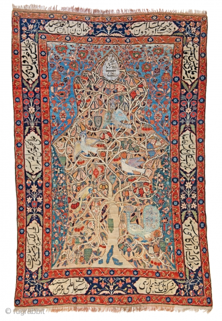 "Lot 61, Kashan Souf signed, 271 x 180 cm (8ft. 11in. x 5ft. 11in.), nscription in the field: ""Order of Majesty Esmeil Waba Yahudi Irani"", Inscription cartouches: ""The Divan of poems"" by  ..."