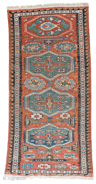 Soumak, 146 x 71 cm (4 ft. 9 in. x 2 ft. 4 in.), Caucasus, ca. 1880, Starting bid € 300, Auction March 9th at 4pm, https://www.liveauctioneers.com/item/69398191_soumak