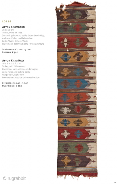 Auction on March 30th at 4pm, all on offer with no reserve. https://www.liveauctioneers.com/item/69912802_afyon-kilim-half