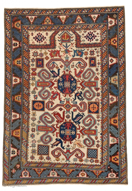 Lot 185, PEREPEDIL PRAYER RUG 137 x 96 cm (4ft. 6in. x 3ft. 2in.) Caucasus, first half 19th century, Starting bid: € 5.500, Auction on April 22nd, https://new.liveauctioneers.com/item/52104341_perepedil-prayer-rug-137-x-96-cm-4ft-6in-x-3ft