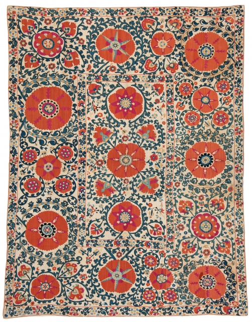 "Lot 184, SHAKHRISYABZ SUZANI 242 x 184 cm (7ft. 11in.) Uzbekistan, mid-19th century, Textile Gallery London stamp on the back, Published: ""Alte orientalische Flachgewebe"", Franz Bausback, 1977, page 70. Auction April 22nd,  ..."