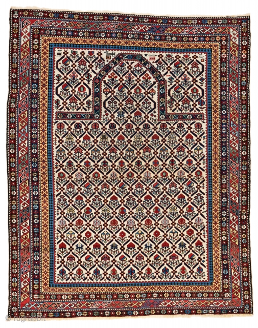 Daghestan, 4ft. 10in. x 3ft. 11in., Caucasus, ca. 1880, Starting bid € 800, Auction May 18th at 4pm, https://www.liveauctioneers.com/item/71360023_daghestan