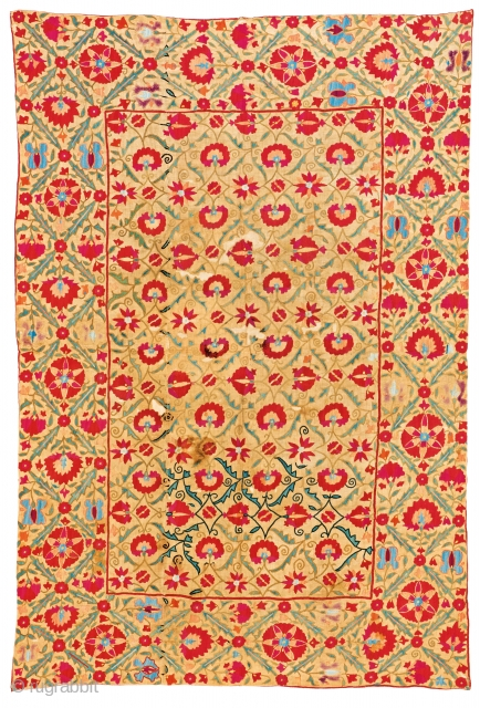Bokhara Nim Suzani, 150 x 102 cm (4ft. 11in. x 3ft. 4in.), Uzbekistan, second half 19th century, Silk on cotton, Provenance: Siawosch Azadi, Starting bid € 800, Auction May 18th at 4pm,  ...