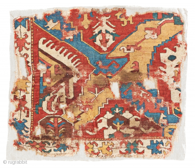 Caucasian Dragon Carpet Fragment, 76 x 87 cm (2 ft. 6 in. x 2 ft. 10 in.), Caucasus, early 18th century, Starting bid € 300, Auction May 18th at 4pm, https://www.liveauctioneers.com/item/71360091_caucasian-dragon-rug-fragment