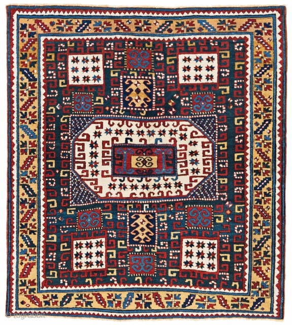 "Lot 53, Karachov Kazak, 195x175cm, Caucasus 19th century, published Doris Eder ""Kaukasische Teppiche"" page 98, starting bid Euro 10.000, Auction June 18, 5pm, https://www.liveauctioneers.com/item/62389164_karachov"
