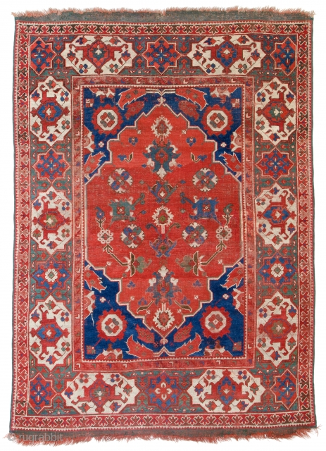 "Lot 189, Transylvanian Ushak published in ""Antike Anatolische Teppiche aus österreichischem Besitz"" 1983 plate 13, 5ft. 6in. x 4ft. 1in., Turkey 17th century, condition: very good, original kilim ends, replaced, selvedges, some  ..."