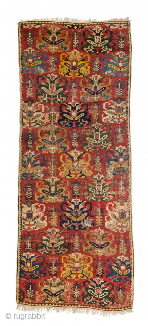 "Lot 48, Lesghi, published in Schürmann ""Caucasian Rugs"" 1990 plate 128, 9ft. 2in. x 3ft. 9in., Caucasus dated by Schürmann 17th/18th century, condition: fair, areas of low pile with foundation visible, rewoven  ..."