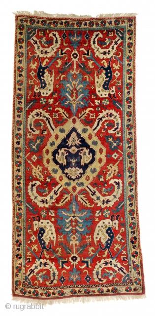 """Lot 85, Caucasian animal rug, published in Schürmann """"Caucasian Rugs"""" plate 93 and Schürmann """"Bilderbuch für Teppichsammler"""" 1960 plate 38, 7ft. 3in. x 3ft. 4in. Caucasus dated by Schürmann 17th century, condition: very  ..."""