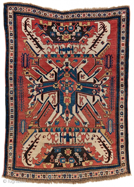 Lot 18, Early Sunburst Eagle Kazak, 7 ft. 9 in. x 5 ft. 6 in., Caucasus, first half 19th century, Condition: good, pile partly low, bottom end incomplete,