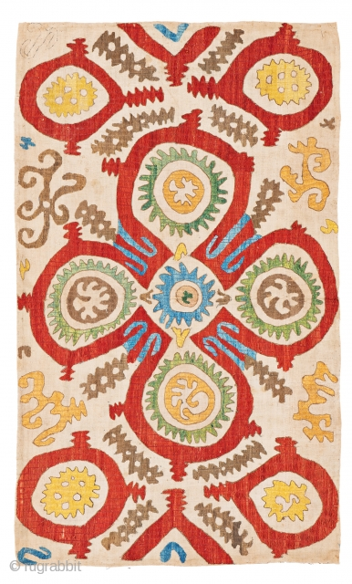 Lot 36, Kaitag Embroidery, 3 ft. 5 in. x 5 ft. 4 in., Caucasus, 18th century, 