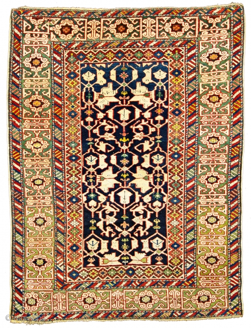 Lot 78, Konakent, 4 ft. 3 in. x 3 ft. 3 in., Caucasus, dated 1295 (1879), Condition: good, few small repairs, Warp: wool, weft: cotton, pile: wool,  Provenance: European private collection, Starting  ...