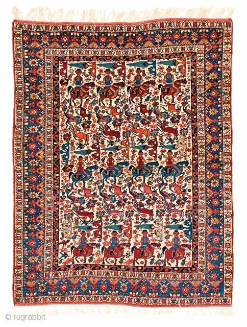 Lot 159, Khamseh, starting bid € 2600, Auction October 14 5pm, https://www.liveauctioneers.com/catalog/109605_fine-antique-oriental-rugs-viii/?count=all
