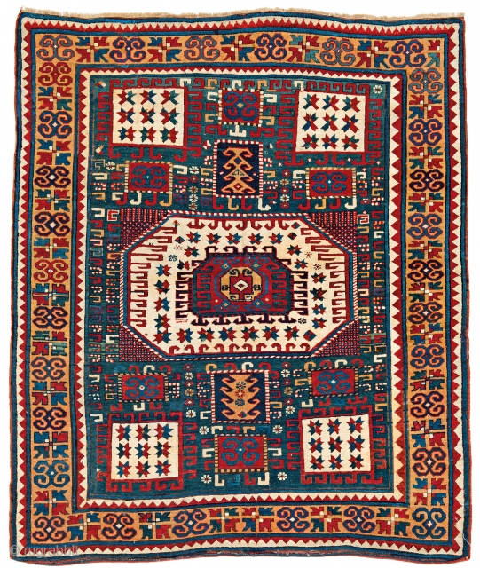 Lot 152, Karachov Kazak, starting bid € 8500, Auction October 14 5pm, https://www.liveauctioneers.com/catalog/109605_fine-antique-oriental-rugs-viii/?count=all